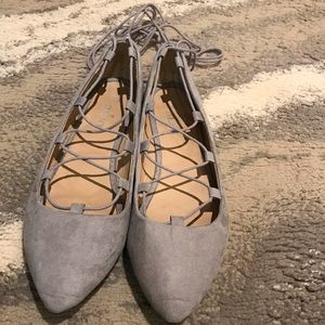 Shoes - Grey Faux Suede Ballerina Flats